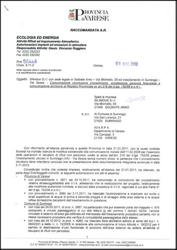 Certificazione Autorizzazione stoccaggio