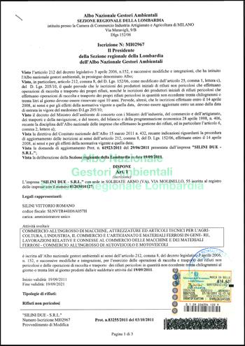 Certificazione Autorizzazione Trasporto Rifiuti